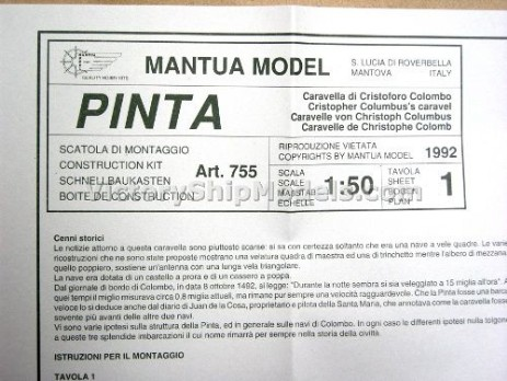 Ship model kit Pinta,  Mantua (www.victoryshipmodels.com)